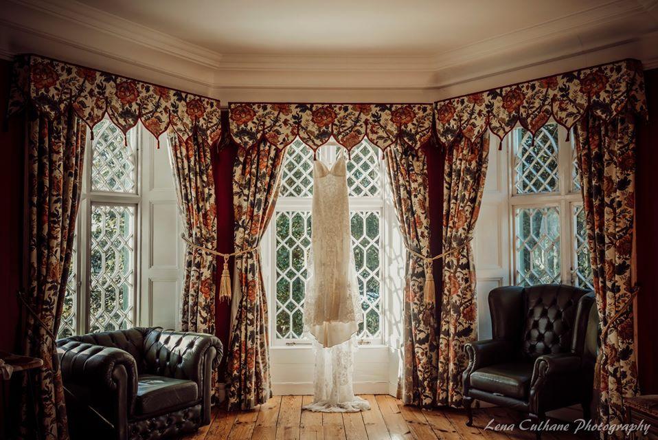 Bridal gown dress wedding window