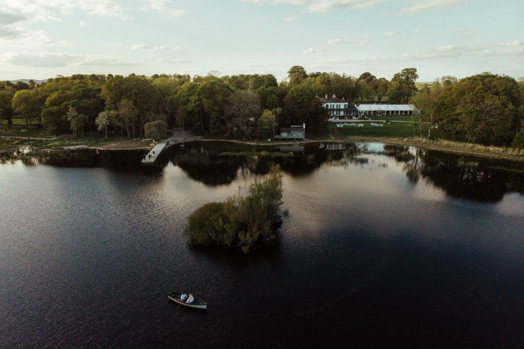 lakeside wedding venue tipperary Nenagh drone photo marquee country house