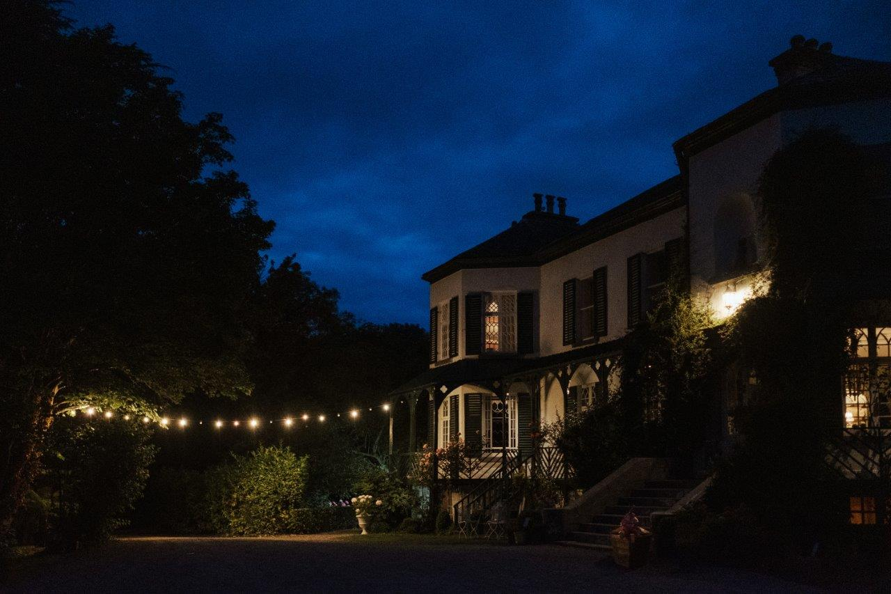 country house wedding venue Ireland festoon lights