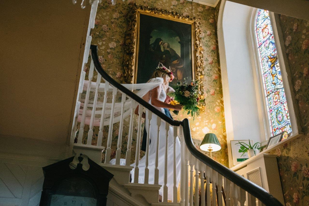 Wedding bride staircase wedding dress