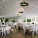 Wedding dinner pavilion marquee lakeside wedding