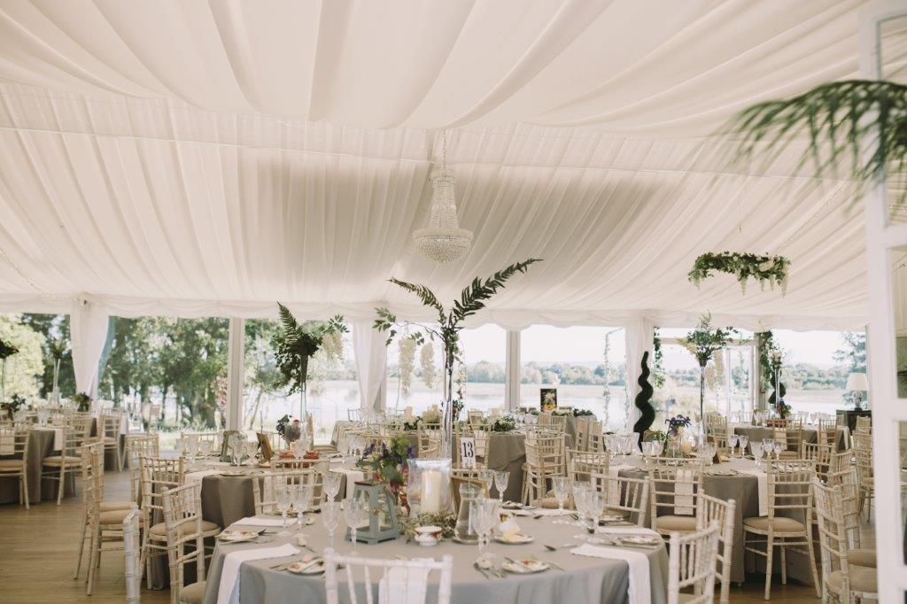 Pavilion marquee lakeside wedding
