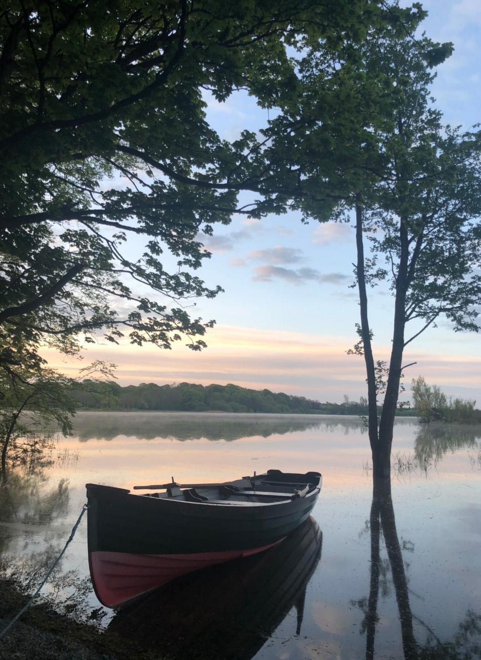 lake boat morning